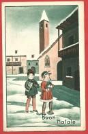 CARTOLINA VG ITALIA - BUON NATALE - Bambini Con Doni Nel Villaggio Innevato - 9 X 14 - ANN. 1940 - Natale
