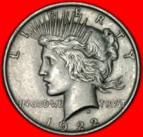 ★ EXCELLENT CHOISE★ USA 1 DOLLAR 1922★ PEACE SILVER! NO RESERVE! - Émissions Fédérales