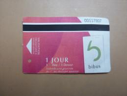 """Ticket de Bus +Tramway BIBUS """"1 JOUR"""" 2014 BREST(29)"""