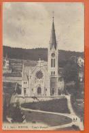 MAQ-10  Bienne Biel, Temple Français. Circulé En 1915, Timbre Manque, Tacches Au Dos - BE Bern