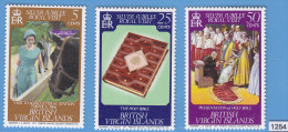 BRITISH VIRGIN ISLANDS 1977; Mi: 324 - 326; MNH; Silver Jubilee, Royal Visit, Queen Elizabeth II, Holy Bible - Familles Royales