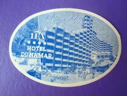 HOTEL RESIDENCIA HOSTAL DUNAMAR PLAYA INGLES GRAN CANARIA SPAIN LUGGAGE LABEL ETIQUETTE AUFKLEBER DECAL STICKER MADRID - Hotel Labels