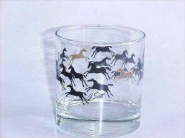 VINTAGE !! T. Scott Signed Horse Racing Short Shot Wine Glass - Glasses