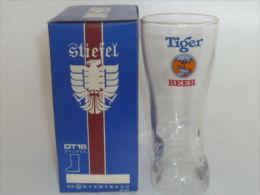 RARE !! Tiger Beer Japan Sasaki Gold Rimmed Boot Glass With Original Box - Glasses