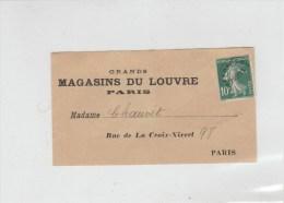 SEMEUSE PREO 10C SURCHARGE FINE SUR ETIQUETTE JOURNAUX MAGASINS DU LOUVRE - Postmark Collection (Covers)
