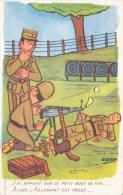 CPA Humour Militaire- J´ai Appuyé Sur Ce Petit Bout De Fer...Alors L´Adjudant Est Passé....Illustrateur G. GOUX- 1960 - Humour