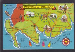 Pstcard Map Of Dumfries And Galloway, N3. - Landkaarten