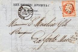 Let. Càd De Honfleur Du 28/8/1859 Cachet Losange Avec PC 1523 S/TP Nap. 40c Orange TTB Pour La Ferté-Mace - 1849-1876: Classic Period