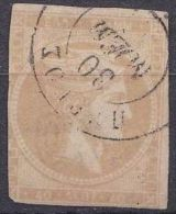 GREECE 1875-1880 Large Hermes Head On Yellowish Or Cream Paper With CN 40 L Grey  Flesh Vl 66 A - Gebruikt