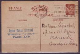 FLIER  De PARIS XVI RUE SINGER  Le 12 IV 41 COLLER LE TIMBRE EN HAUT.... Entier IRIS A 0.90 Pour MARSEILLE - Annullamenti Meccaniche (Varie)
