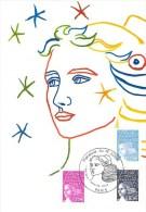 FRANCE CARTE MAXIMUM NUM.YVERT  3573/3575 MARIANNE 14 JUILLET - Cartoline Maximum