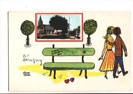 Carte 1930 Signée Claude Verrier : Vue Du Village De Sérigny - Autres Communes