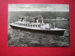 CPSM   PAQUEBOT   FRANCE  Cie TRANSATLANTIQUE      VOYAGEE 1964 TIMBRE - Steamers