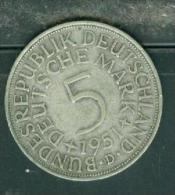 ALLEMAGNE - 5 MARK - 1951- METAL ARGENT  Pia7902 - [ 6] 1949-1990 : RDA - Rép. Démo. Allemande