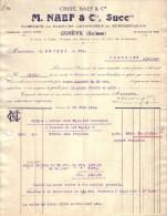 SUISSE - GENEVE - PARFUMS ARTIFICIELS - CHUIT , NAEF & CIE , M. NAEF & CIE , SUCCR - 1919 - Switzerland