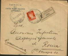 1937 RACCOMANDATA LITTORIA X ROMA £1,75 BUSTA FARMACIA DELLA CROCE ROSSA - 1900-44 Vittorio Emanuele III