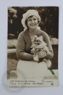 Old 1920 Postcard - Actress Norma Talmadge With Dog/ Puppy - Posted - Actores