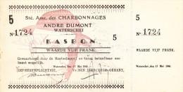 1940 -  CHARBONNAGES KOOLMIJN - Andr� DUMONT WATERSCHEI / KASBON NR. 1724 met strook