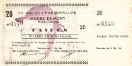 1940 -  CHARBONNAGES KOOLMIJN - Andr� DUMONT WATERSCHEI / KASBON NR. 6170 met strook