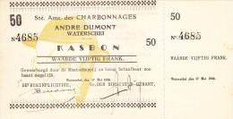 1940 -  CHARBONNAGES KOOLMIJN - Andr� DUMONT WATERSCHEI / KASBON NR. 4685 met strook