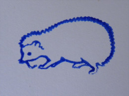 Ancien Tampon Scolaire Bois HERISSON  Ecole French Antique Rubber Stamp HEDGEHOG - Scrapbooking
