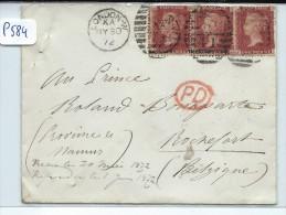 GRANDE BRETAGNE  JOLIE LETTRE POUR LA BELGIQUE  AU PRINCE  BONAPARTE  1874 - Marcophilie