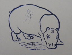 Ancien Tampon Scolaire Bois HIPPOPOTAME Ecole French Antique Rubber Stamp HIPPOPOTAMUS - Scrapbooking