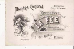 CARTE DE VISITE ANCIENNE BICYCLETTE LA FEE 4 RUE BUFFAULT PARIS - Visiting Cards
