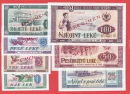 ALBANIE -Série De 7 Billets SPECIMEN De 1976 - NEUF - Albania