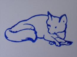 Ancien Tampon Scolaire Bois RENARD Ecole French Antique Rubber FOX Chasse Nourriture Oiseau - Scrapbooking
