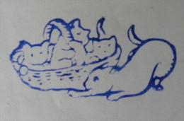 Ancien Tampon Scolaire Bois CHAT Et CHATONS Dans Panier Ecole French Antique Rubber CAT - Scrapbooking