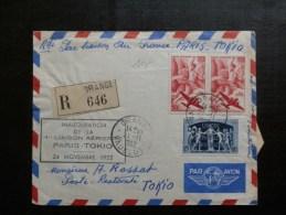 45/967  LETTRE  1° VOL PARIS TOKIO   1952 - Poste Aérienne