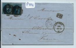 BELGIQUE LETTRE  PAIRE DU N° 11 DE ANVERS POUR LA FRANCE   1861 - Postmark Collection
