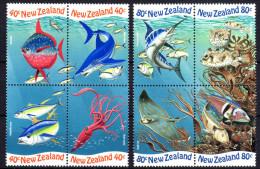 Neuseeland, 1998, Meerestiere, MI 1711-1718, 2 Viererblocks, MNH - Marine Life