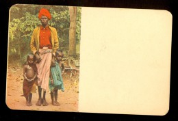 Man, Two Children - Ceylon ------ Postcard Not Traveled, But There Are Stamps And Cancel On The Back - Sri Lanka (Ceylon)