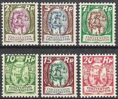 Winzer+Schlosshof 1924/7: Zu 64-69 Mi 65-70 **  MNH  (Zumstein CHF 210.00)) - Liechtenstein