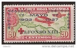 ES366-LA1021-CG.España. Spain   Espagne.CRUZ ROJA ESPAÑOLA AEREA.SOBRECARGADA1926 (Ed 366**). Sin Charnela MAGNIFICO - 1889-1931 Reino: Alfonso XIII