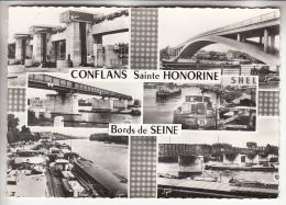 CONFLANS SAINTE HONORINE 78 - Jolie Multivues : Bords De Seine - CPSM Dentelée Noir Et Blanc GF - Yvelines - Conflans Saint Honorine