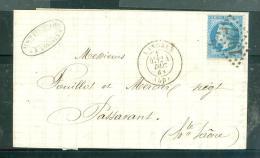 Lac Affranchie Par N°29 Oblitéré Gc 1947 ( Langres ) En Dec 1868 Lr18610 - Marcofilia (sobres)