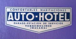 HOTEL RESIDENCIA HOSTAL AUTO TORREMOLINOS MALAGA COSTA DEL SOL LUGGAGE LABEL ETIQUETTE AUFKLEBER DECAL STICKER MADRID - Etiquettes D'hotels