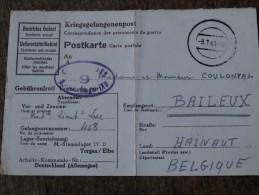 Carte Postale écrite Par Un Prisonnier De Guerre Le 30/12/1942 Pour Baileux(Coulonval) -Controler Le 09/01/1943 - WW II