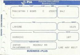 PIA (PAKISTAN INTERNATIONAL AIRLINES) USED BOARDING PASS SPECIAL BUSINESS+PLUS CLASS - Tarjetas De Embarque