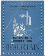 Beaujolais  Industrie Et Production 1949 - Tickets D'entrée
