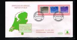 2001 - Netherlands FDC W132A - Crouwel 5c, 10c And 25c Roll [A96_122] - FDC