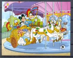 MyhD688 WALT DISNEY MICKEY GOOFY DONALD CAROUSEL PAARDEN HORSES EXPO GAMBIA 1989 PF/MNH - Disney