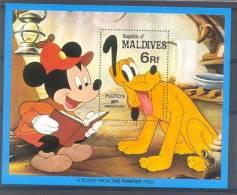 Myu024 WALT DISNEY MICKEY PLUTO HOND LEZEN READING BOOK DOG HUNDE  MALDIVES 1982 PF/MNH - Disney