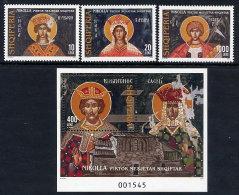 ALBANIA 2004 Nikolla Ikons Set Of 3 + Block  MNH / **.  Michel 2983-85, Block 153 - Albania
