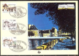 Carte souvenir  2579 HK  Georges Simenon,�mission commune:Belgique-France-S uisse