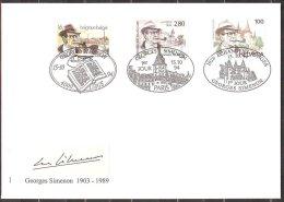 Belg.cob 2579 +France yv 2911 + Suisse yv 1463 F.D.C +autographe Georges Simenon,�mission commune:Belgique-France-S uiss