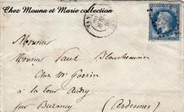 1868 ENVELOPPE AVEC COURRIER N° 29 A GC CACHET CIRE ROUGE ARMOIRIES EVEQUE NANCY TOUL BUZANCY LA TOUR AUTRY - Marcophilie (Lettres)
